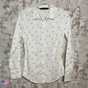Zara White & Navy Blue Rope Knot Print Button Up